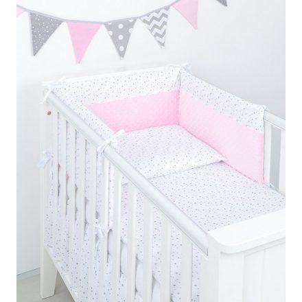 Mini csillagok minky 3 részes babaágynemű szett - fehér, rózsaszín