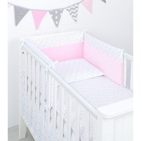 Mini csillagok minky 3 részes ágynemű szett - fehér, rózsaszín