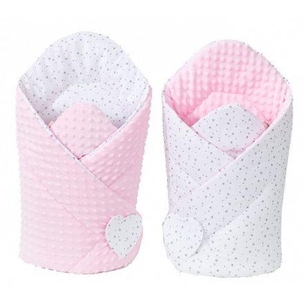 Mini csillagok minky pólya - fehér, rózsaszín