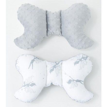 Tündéri minky pillangó párna - fehér, szürke