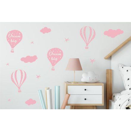 Hőlégballon falmatrica - halvány rózsaszín