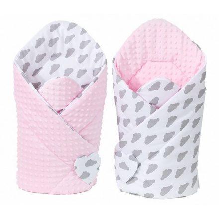 Felhőcske minky pólya - fehér, rózsaszín
