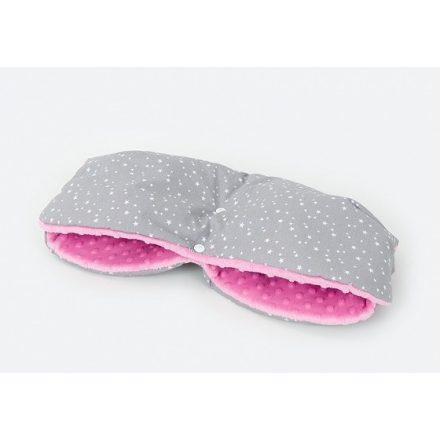 Mini csillagok minky kézmelegítő - szürke, rózsaszín