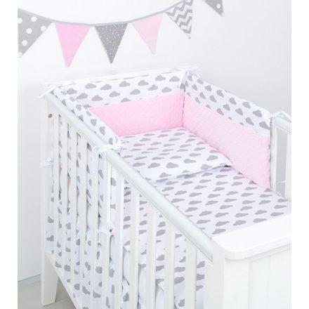 Felhőcske minky 3 részes babaágynemű szett - fehér, rózsaszín