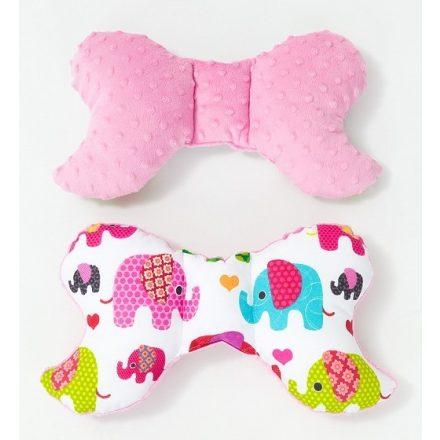 Elefántok minky pillangó párna - rózsaszín