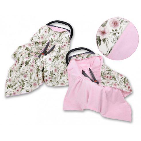 Rózsák - rózsaszín Kétoldalas utazó takaró