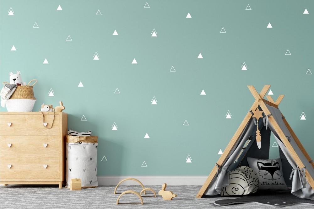 Háromszögek falmatrica - fehér