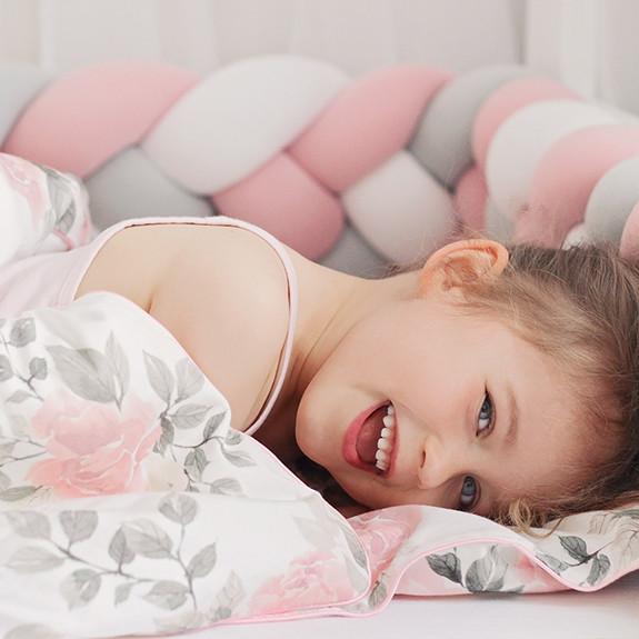 Luxury 4 szálas fonott rácsvédő 140 cm - fehér, pasztell rózsaszín, világosszürke