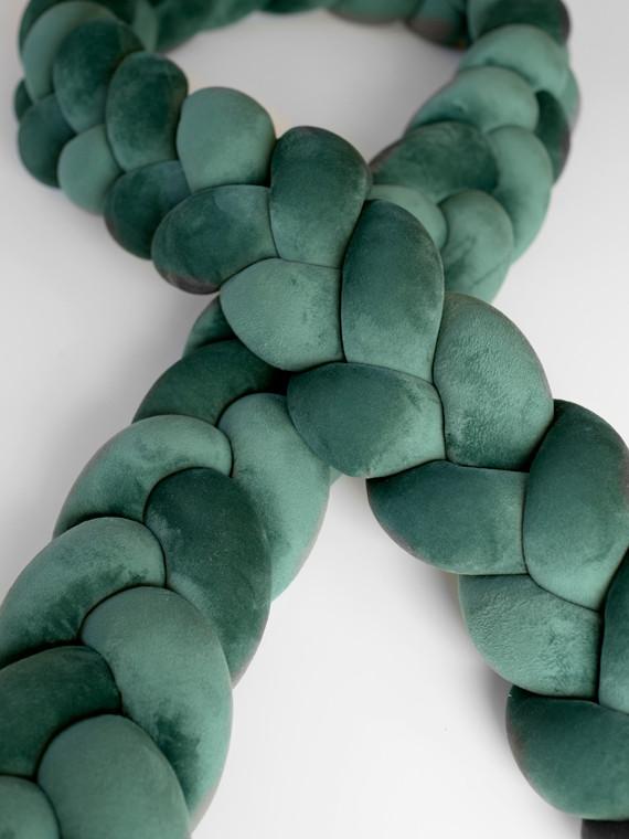 Luxury Super Soft Velvet fonott rácsvédő - sötétzöld 240 cm