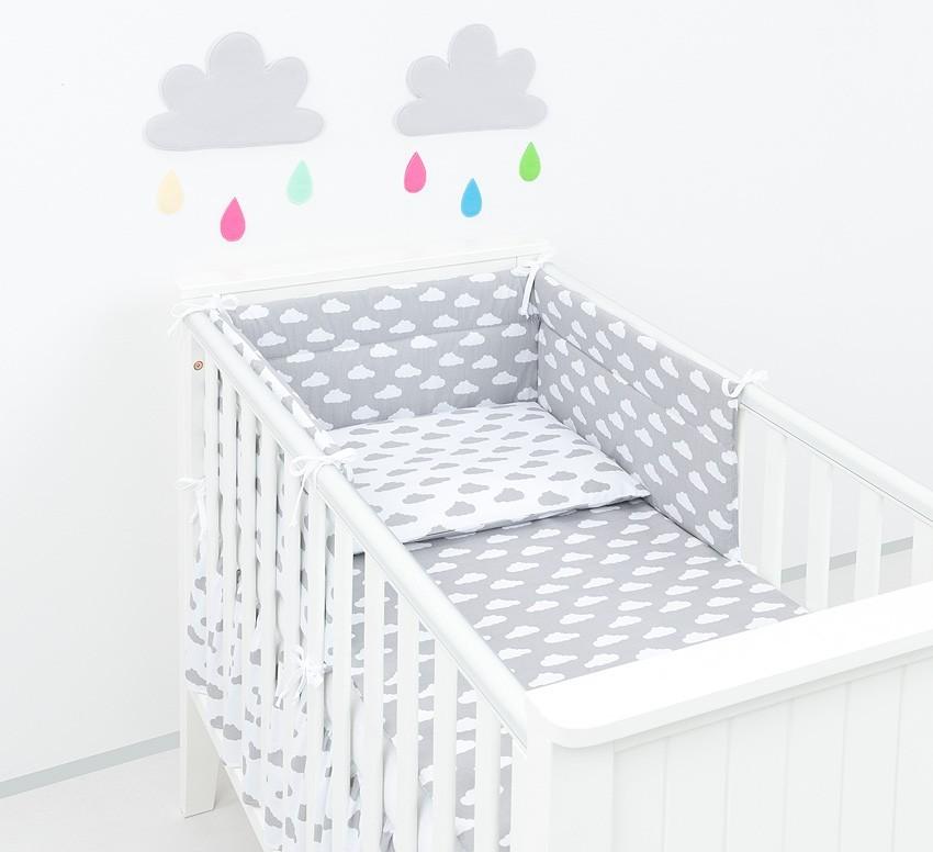 Felhőcske 3 részes babaágynemű szett - szürke, fehér 60x120