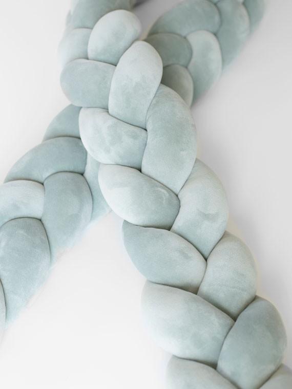 Luxury Super Soft Velvet fonott rácsvédő - zsálya 240 cm