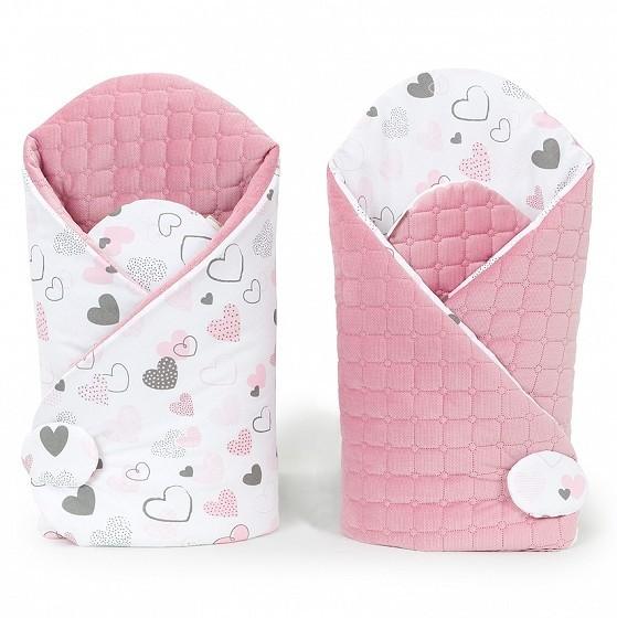Pasztell szívek prémium steppelt bársony pólya - pasztell rózsaszín