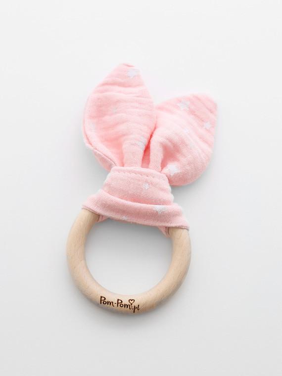 Luxury fa nyuszis rágóka - Rózsaszín, fehér csillagos